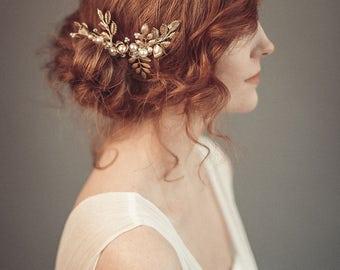 Gold bridal hair comb - Gold wedding headpiece - Bridal headpiece - Wedding hair piece -  Gold leaf headpiece
