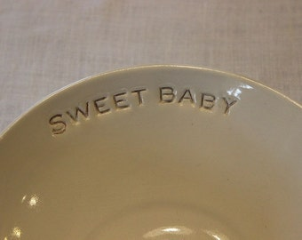 Ceramic Baby Dish Bowl Handmade Heirloom Keepsake Baby Shower Gift for New Parents Moms and Dads