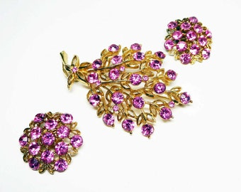 PInk Rhinestone Flower Pin & Earrings Set - Bouquet of Flowers Brooch Matching Clip ons - Pave Set Chaton Rhinestones - Vintage 1950s 1960s