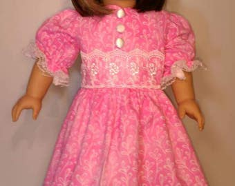 Pretty pink Easter short sleeve dress fits 18 inch dolls