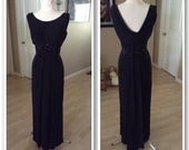 Vintage late 50s early 60s Emma Domb gown with waterfall collar and sequin embellishment