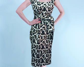 Sarah Leopard Pinup Rockabilly Wiggle Dress