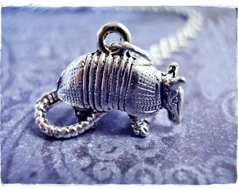 Silver Armadillo Necklace - Silver Pewter Armadillo Charm on a Delicate Silver Plated Cable Chain or Charm Only