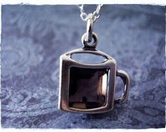 Brown Crystal Coffee Cup Necklace - Sterling Silver Crystal Coffee Cup Charm on a Delicate Sterling Silver Cable Chain or Charm Only
