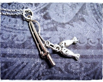 Silver Fishing Rod and Fish Necklace - Sterling Silver Fishing Rod and Fish Charm on a Delicate Sterling Silver Cable Chain or Charm Only