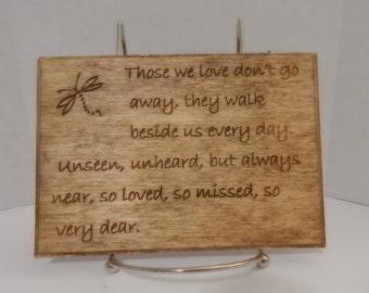 Dragonfly poem sign, Dragonfly remembrance plaque, Dragonfly remembrance sign, Wooden memorial sign, Loved ones sign