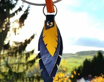 Leather Keychain Feather Cut Keyholder Keyring