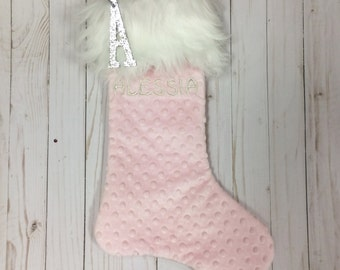Baby's First Christmas Stocking, Pink and White Christmas Stocking, Grand baby Christmas Gift, Baby Girl's 1st Christmas