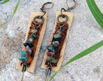 Suede Jewelry Tapestry Earrings Fancy Jasper Textured Leather Folk Gypsy Tribal Style Earth Goddess Adornments Textile Jewelry Gifts For Her