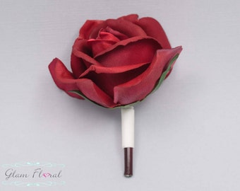 Red Rose Boutonniere . Real Touch Flowers. Caroline Rose Collection