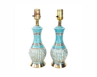 Pair of Vintage Aqua Table Lamps