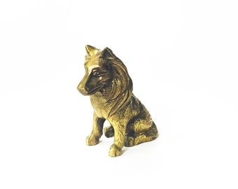 Vintage Brass Dog / German Shepherd