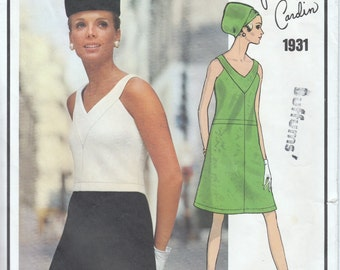 1960's Pierre Cardin Paris Original Bias Dress Pattern  Vogue 1931  Out of Print Carnaby Street Style Dress Pattern Cut and Complete Bust 34