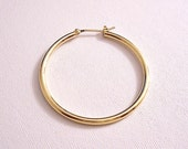 Monet Single Replacement Hoop 14K Gold Post Stud Pierced Earring Vintage Large Round 1 3/8 Inch Thin Smooth Polished Tube Ring