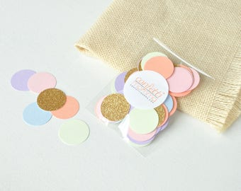 "Pastel Rainbow Confetti 1"" Circles. 50 CT. Handcrafted in 2-5 Business Days. Unicorn Party Decor. Rainbow Party."