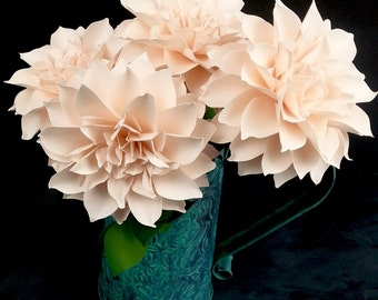 NEW: The  Dahlia Handmade Paper Flower  - set of 5 flowers  - Stems Included -  Custom order available