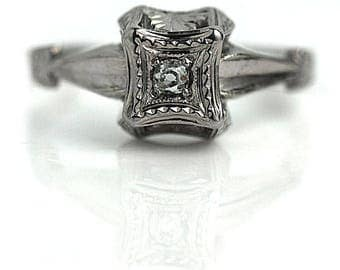 Vintage Diamond Ring Antique Promise Ring .08ctw 14K Filigree Affordable Engagement Ring AD1839