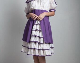 vintage patio square dance dress cotton rockabilly ruffle purple floral folk off the shoulder LARGE L