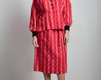 vintage 70s red skirt suit 3-piece peplum top blouse matching set long short sleeves stripe LARGE L