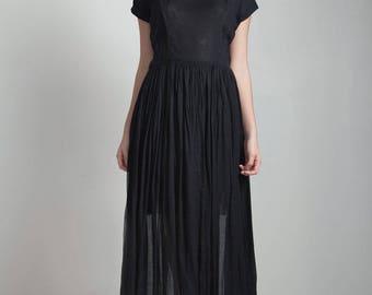 vintage 50s black day dress sheer gauze gauzy cotton pleated midi square neck LARGE L