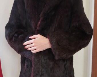 Vintage burgundy red rabbit fur coat 60s 70s winter XS S