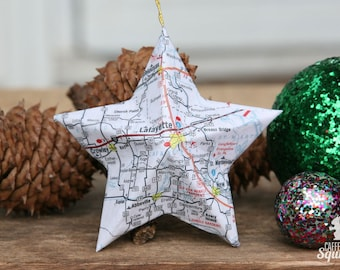 Lafayette, Louisiana - Vintage Map Covered Star Ornament - LA, Home Decor, East Coast, 3 Dimensional, Christmas, Tree, Map Ornament