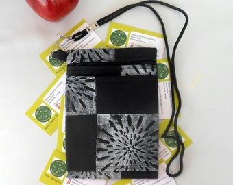 Flower burst phone pouch passport vegan hand printed white on black cotton zippered roomy with an outer pocket includes lanyard