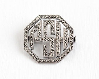 Sale - Vintage Sterling Silver Art Deco Marcasite Initials PSH French Brooch - Antique 1920s Letter Monogram Jewelry Made in France 20s Pin