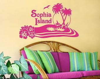 Tropical Decor, Personalized Vinyl Decal, Tropical Wall Art Decal, Custom Name Island Beach Vinyl Wall Art, Hibiscus, Palm Trees (0172bn)