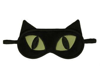 Cat Sleep Mask, Black cat blindfold, Eye pillow, Animal sleep mask, Cute green sleeping eye mask, Kitty cat ears sleepmask, Gift for her him