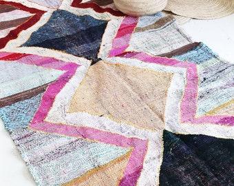 "RESERVED for msyperek  - Vintage Moroccan Kilim - BOUCHEROUITE Rug  ""zigzag pink"""