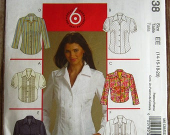 Easy to Sew Misses Fitted Shirts with Sleeve Variations, Collar and Shaped Hem Sizes 14 16 18 20 McCalls Pattern M5138 UNCUT