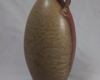 Wood fired bottle with natural ash glaze