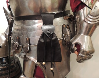 Historically Inspired Black Leather Bag/Belt Pouch