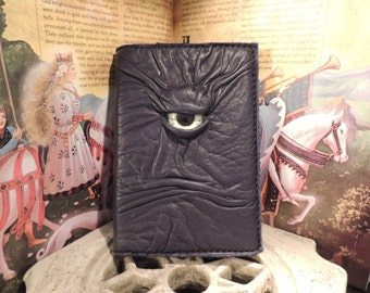 Mythical Beast Book-Refillable journal cover 4x6(Dark Blue leather with Green/White eye)