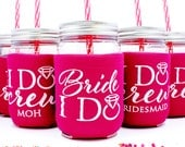Bachelorette Party Cups, Bachelorette Party Favors, Bridesmaid, Maid of Honor, I Do Crew Cups, Raspbery, Magenta