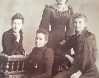 Rebel Belles , 1900s Cabinet Card, Photograph , Collectible, Vintage