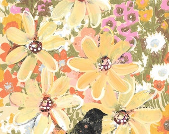 For The Birds - original painting, Black Bird, Yellow Daisy and Flowers painted on Vintage Wallpaper, by Cat Seyler
