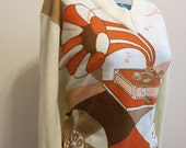 RECORD PLAYER shirt sweater vinyl records 1970s vintage orange white M