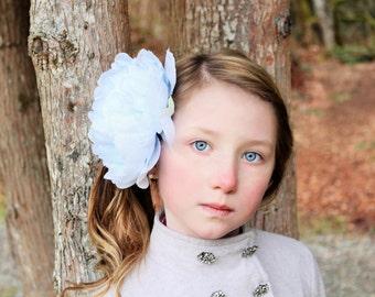 light blue flower headband, light blue clip,  blue peony headband,large flower headband, flower girl headband or flower hair clip, dollcake