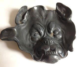 antique metal ashtray bulldog face