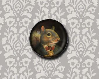Squirrel Brooch Round, Squirrel Pin, Victorian Squirrel Portrait, Animal Portrait, Squirrel Art, Squirrel Lover's Gift, Stocking Stuffer