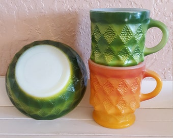 Anchor Hocking Kimberly Diamond Mugs and Bowl in Retro Colors - Oak Hill Vintage