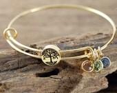 Grandmother Bracelet, Personalized Birthstone Bracelet, Tree of life Charm Bracelet, Gold Family Tree Bangle Bracelet, Mom Bracelet