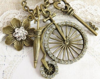 Victorian style necklace, charm necklaces, crystal jewelry, vintage inspired necklace, gift for her, victorian bike jewelry