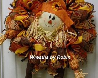 ON SALE Fall Wreath, Autumn Scarecrow Wreath, Scarecrow Wreath