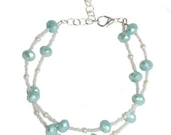 Mint Wedding Anklet - Beaded - Wedding Anklet - 2 Layers