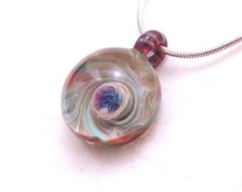 Mini DOME Jubilant Glass Aqua Blue and Violet Borosilicate Lampwork Art Glass Pendant On Satin Or Sterling Silver Necklace Free Shipping