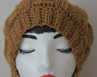 "Hand Knitted ""Warm Brown"" Beanie, Slouchy Head Accessory, Boho-chic"