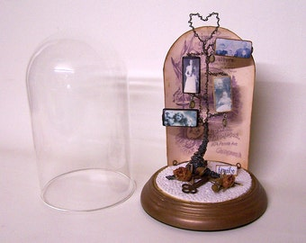 FAMILY TREE ASSEMBLAGE, Wire Art, Vintage, Ancestors, Glass Cloche